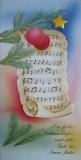 Weihnachtskarte mit Kuvert, Motiv Nr. 11, Notenblatt mit Kugeln + Stern