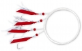 ZEBCO Makrelenvorfach, 4 Relfex-Fliegen in rotglänzend/silber, Hakengr. 3/0