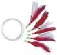 ZEBCO Makrelenvorfach, weiss/rote Federn mit Glitterfäden, 5 Haken Gr. 1/0