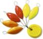 ZEBCO Auftriebskörper, orange/rot/gelb, 26 x 11,5 mm, Inhalt: 6 Stück