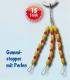 Behr Gummi-Schnurstopper mit Perlen, gelbe Stopper + rote Perlen, Gr.: gross / L