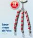 Behr Silikon-Schnurstopper mit Perlen, transparente Stopper + rote Perlen, Gr.: mittel / M